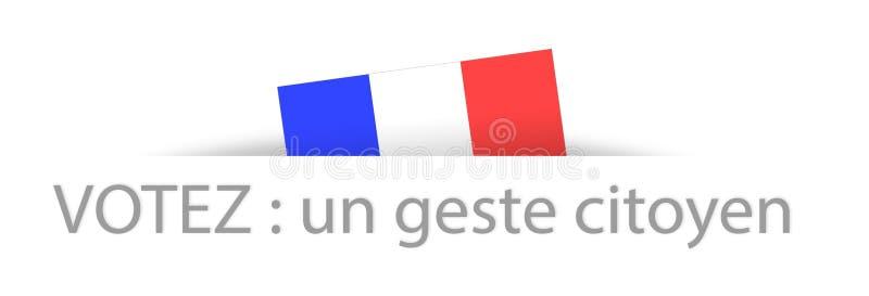 Rösta en medborgaregest i franskt med delen dold fransk flagga stock illustrationer