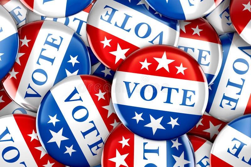 Rösta knappar i rött, vitt, och blått med stjärnor royaltyfri illustrationer