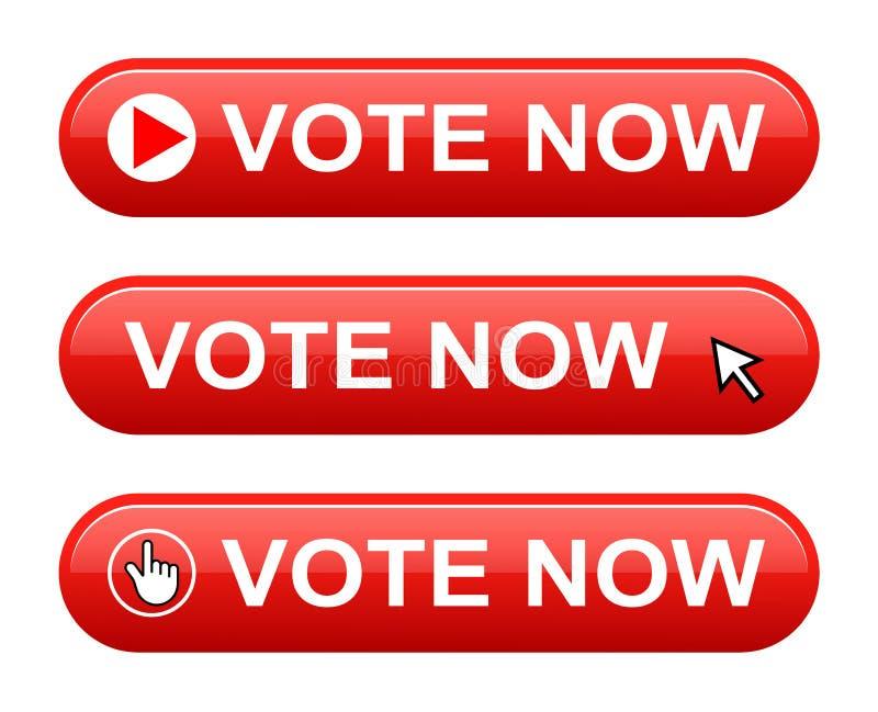 Rösta nu knappen vektor illustrationer