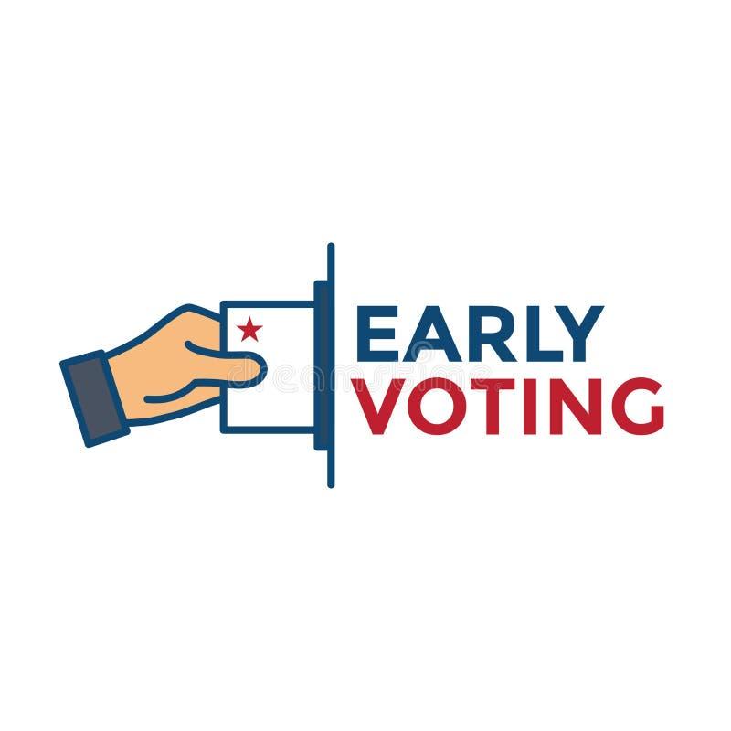 Rösta symbolen 2020 med rösta, regeringen, & den patriotiska symbolismen och färger vektor illustrationer