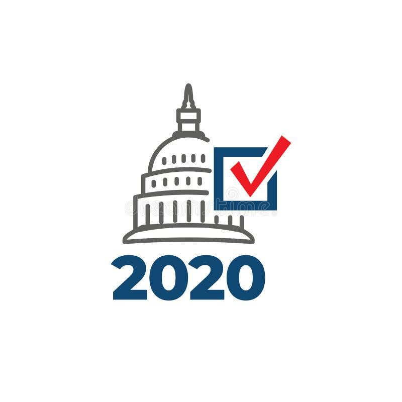Rösta symbolen 2020 med rösta, regeringen, & den patriotiska symbolismen och färger stock illustrationer