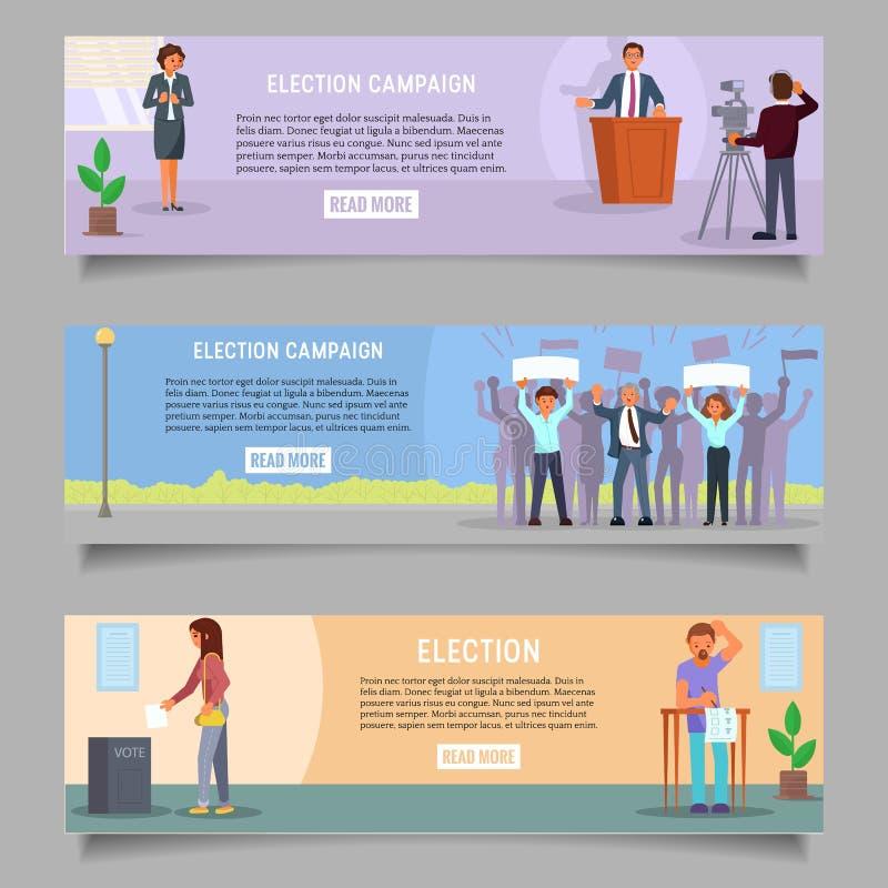 Rösta uppsättningen för rengöringsdukbanermall, plan illustration för vektor vektor illustrationer
