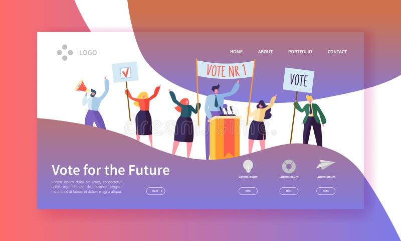 Rösta val som landar sidamallen Begrepp för politiskt möte för tecken för affärsfolk för Website eller webbsida vektor illustrationer