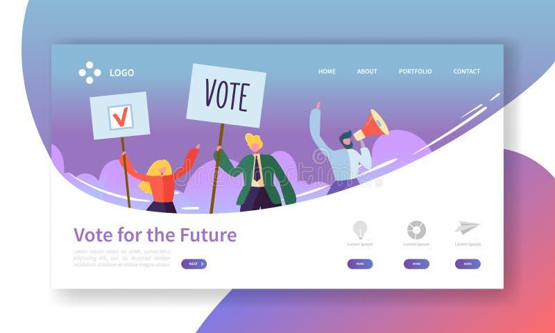Rösta val som landar sidamallen Begrepp för politiskt möte för tecken för affärsfolk för Website eller webbsida royaltyfri illustrationer