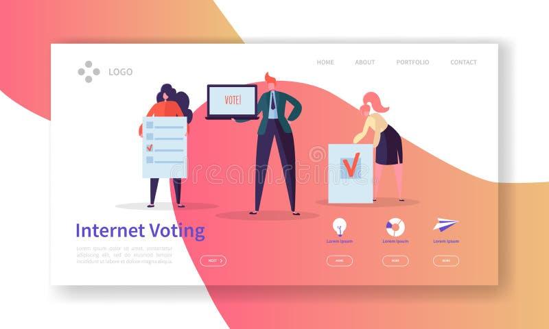 Rösta val som landar sidamallen Begrepp för röstning för internet för tecken för affärsfolk för Website eller webbsida vektor illustrationer