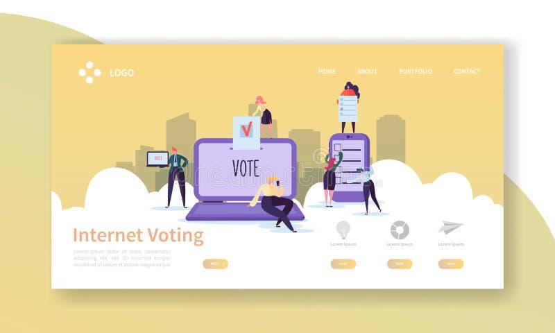 Rösta val som landar sidamallen Begrepp för röstning för internet för tecken för affärsfolk för Website eller webbsida stock illustrationer