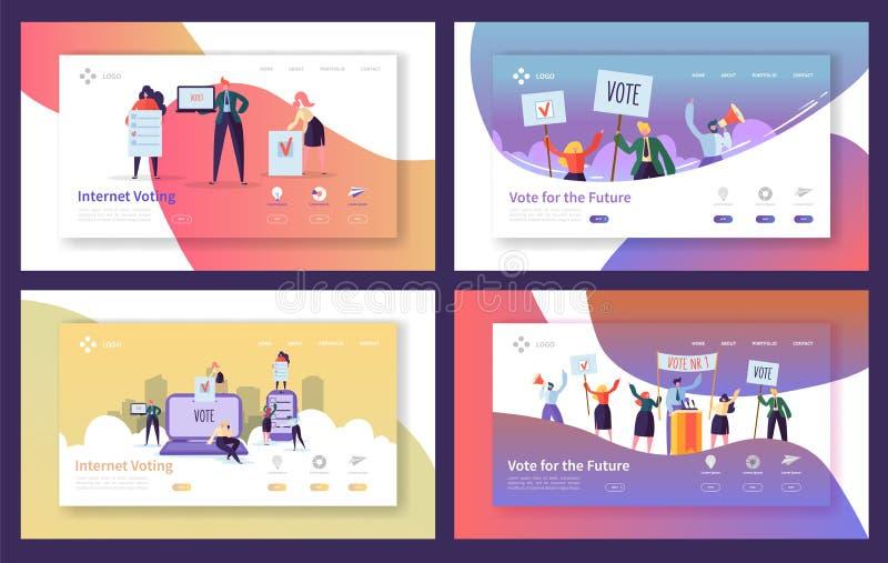 Rösta val som landar sidamalluppsättningen Internet för tecken för affärsfolk som röstar, begrepp för politiskt möte stock illustrationer
