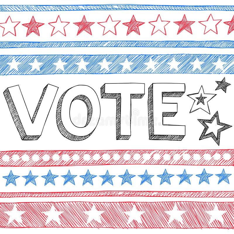 Rösta vektorn för klotter för presidentvalet den knapphändiga stock illustrationer