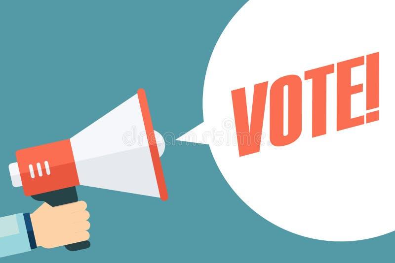 Röstar den hållande megafonen för den manliga handen med anförandebubblan högtalare royaltyfri illustrationer