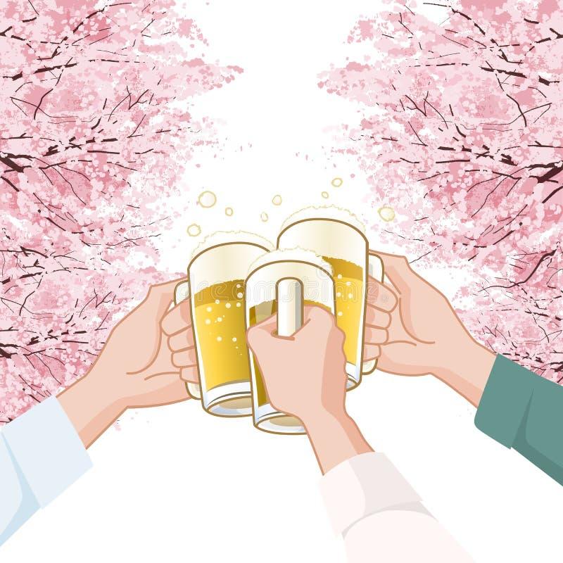 Rösten mit Bier unter Kirschblütenbäumen vektor abbildung