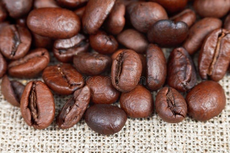 Röstkaffeebohnen auf Sackleinen lizenzfreie stockbilder
