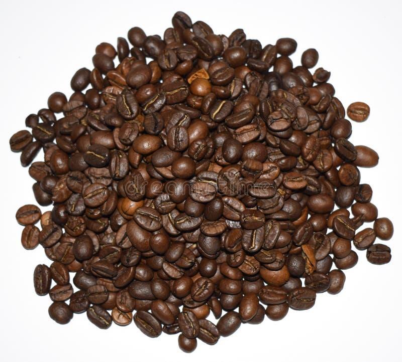 R?stkaffeebohnen lokalisiert auf einem wei?en Hintergrund, einem Kaffee, einer aromatischen Nahrung und Getr?nken Flache Beschaff lizenzfreie stockfotografie