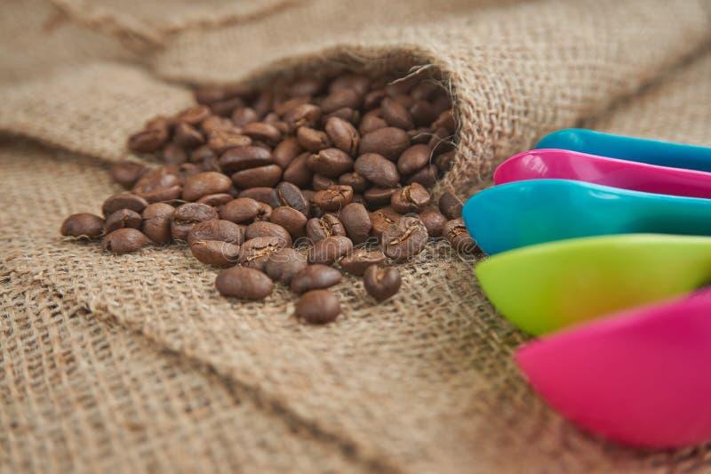 Röstkaffeebohnen, Messlöffel der Dosis auf Jutefasersack lizenzfreie stockfotografie