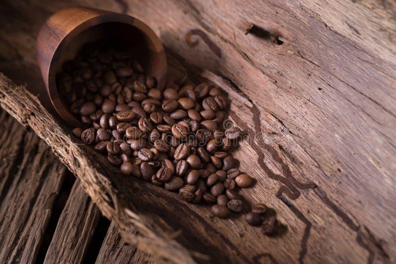 Röstkaffeebohnen und Rohkaffeebohne auf hölzernem stockfotos