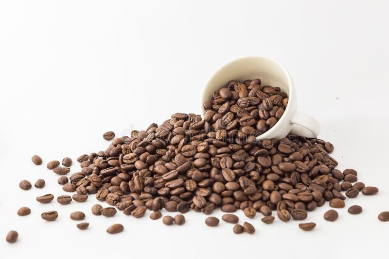 Röstkaffeebohnen und -schale auf weißem Hintergrund stockfotos