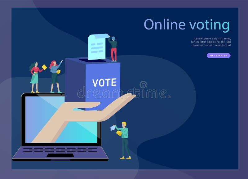 Röstning- och valbegrepp Förvals- aktion Befordran och advertizing av kandidaten stock illustrationer