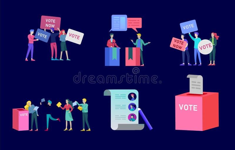 Röstning- och valbegrepp Förvals- aktion Befordran och advertizing av kandidaten vektor illustrationer