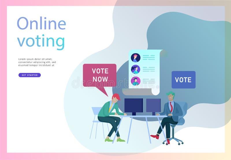 Röstning- och valbegrepp Förvals- aktion Befordran och advertizing av kandidaten royaltyfri illustrationer