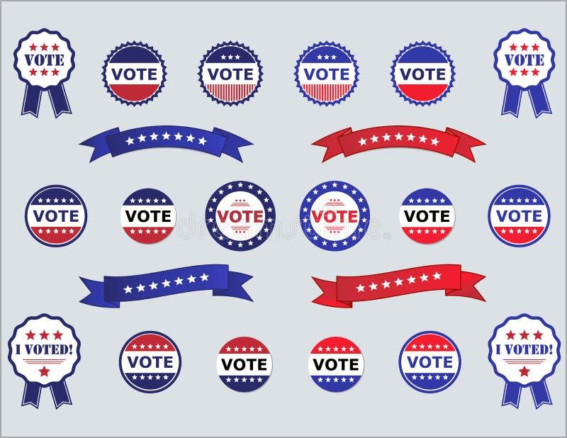 Röstningemblem och etiketter för val vektor illustrationer