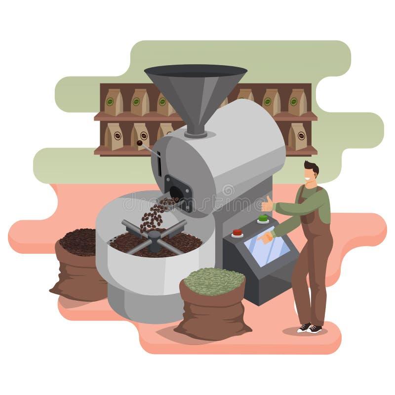 Röstverfahren für Kaffeebohnen in Industrieroaster Barista überwacht den Betrieb der Ausrüstung stock abbildung