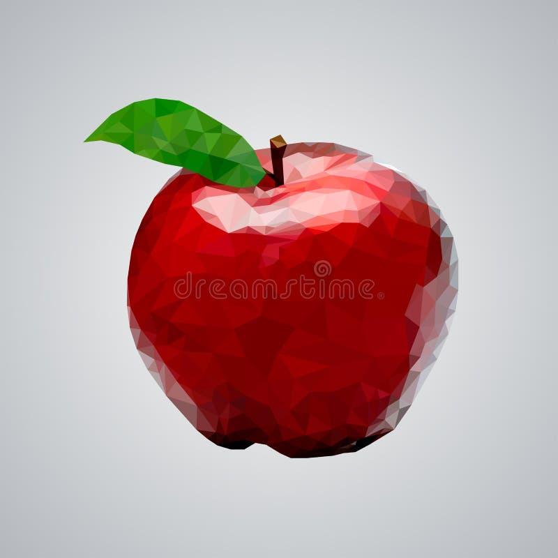 Rött äpple för låg poly vektor royaltyfri illustrationer