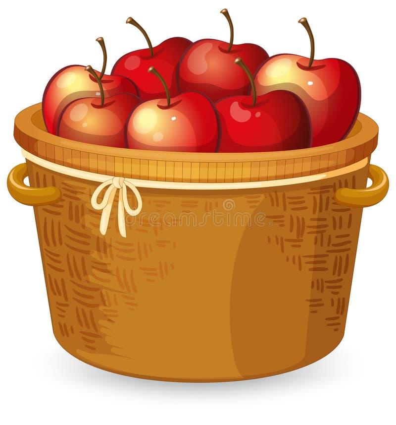 Rött äpple i korg stock illustrationer