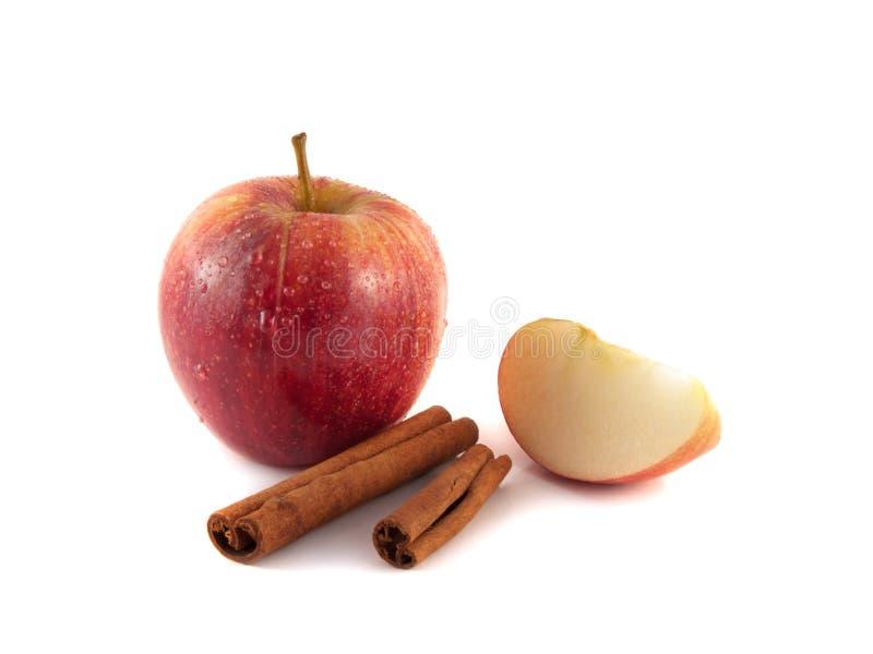 rött äpple med skivor och kanel royaltyfri bild