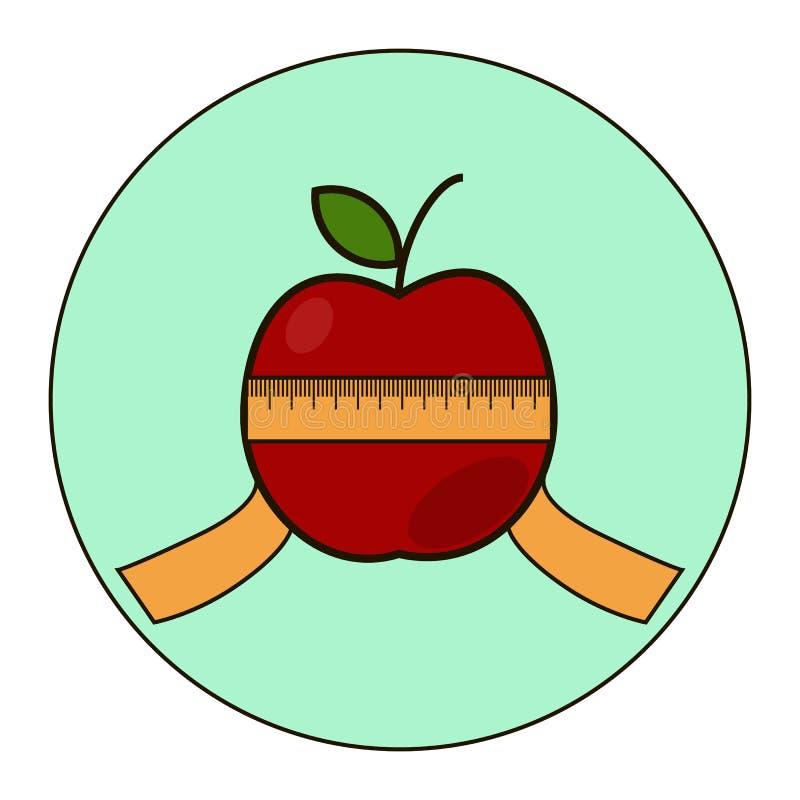 Rött äpple med typmått vektor illustrationer