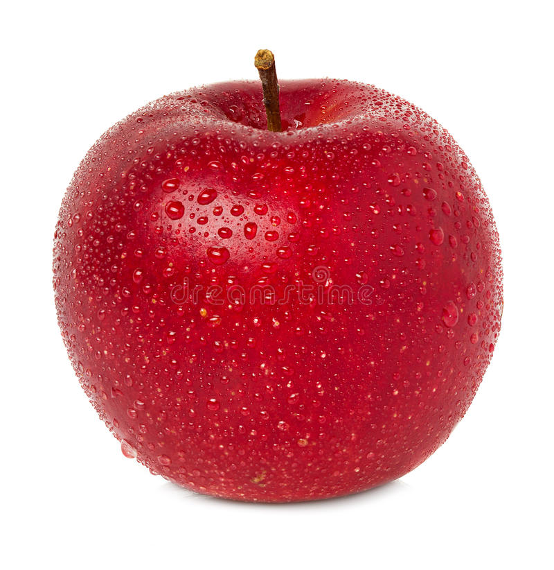 Rött äpple med vattendroppar royaltyfria bilder