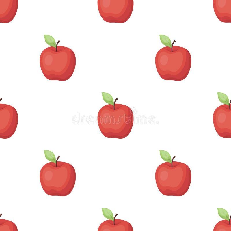Rött äpple Mellanmål på skolan Lunch på avbrottet stock illustrationer