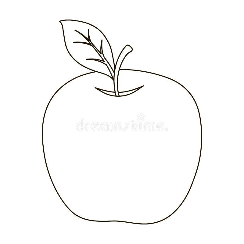 Rött äpple Mellanmål på skolan Lunch på avbrottet Enkel symbol för skola och för utbildning i materiel för symbol för översiktsst royaltyfri illustrationer