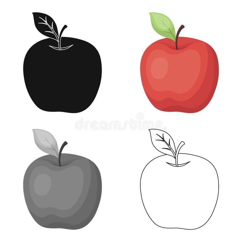 Rött äpple Mellanmål på skolan Lunch på avbrottet Enkel symbol för skola och för utbildning i materiel för symbol för tecknad fil royaltyfri illustrationer
