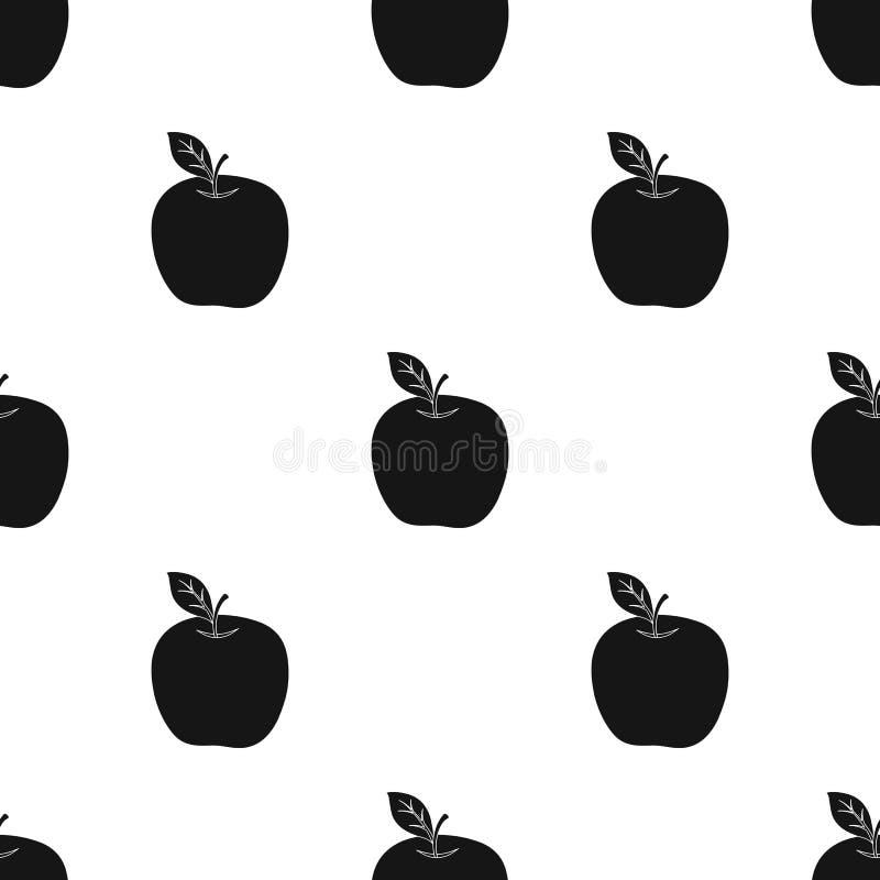 Rött äpple Mellanmål på skolan Lunch på avbrottet Enkel symbol för skola och för utbildning i svart materiel för stilvektorsymbol royaltyfri illustrationer