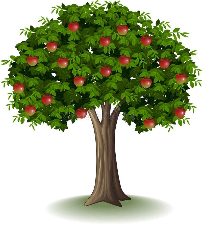 Rött äpple på äppleträd royaltyfri illustrationer