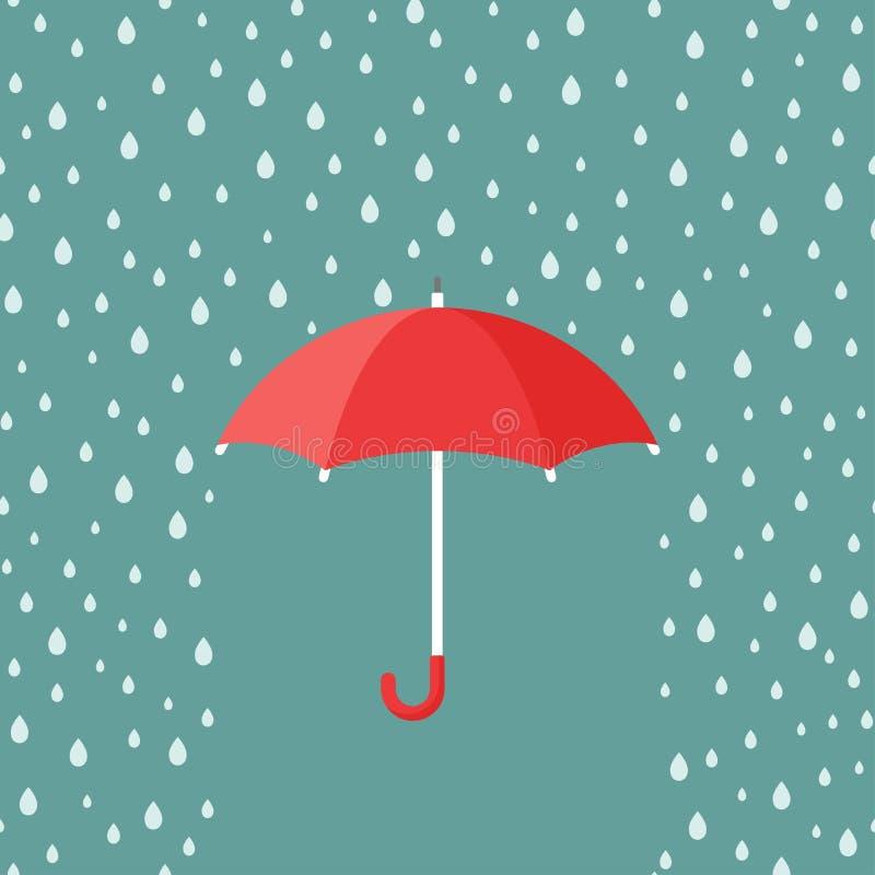 Rött öppet paraply med regndroppar Plan symbol som isoleras på vit Plan design också vektor för coreldrawillustration stock illustrationer