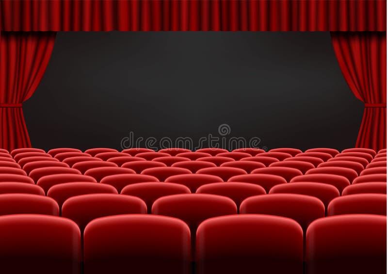 Rött öppna gardinen med platser i teater Vektor för gardin för sammettygbio Öppnat gardiner och hav royaltyfri illustrationer