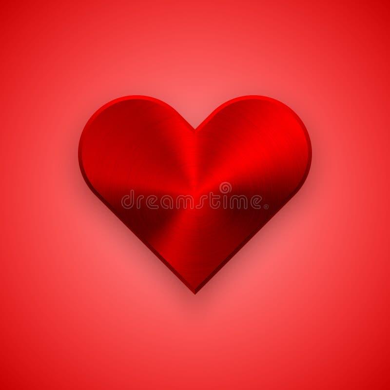 Rött abstrakt hjärtatecken med metalltextur royaltyfri illustrationer