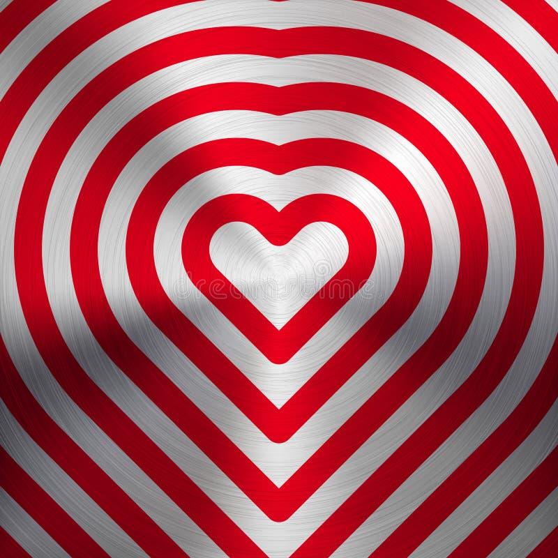 Rött abstrakt hjärtatecken på metalltextur stock illustrationer