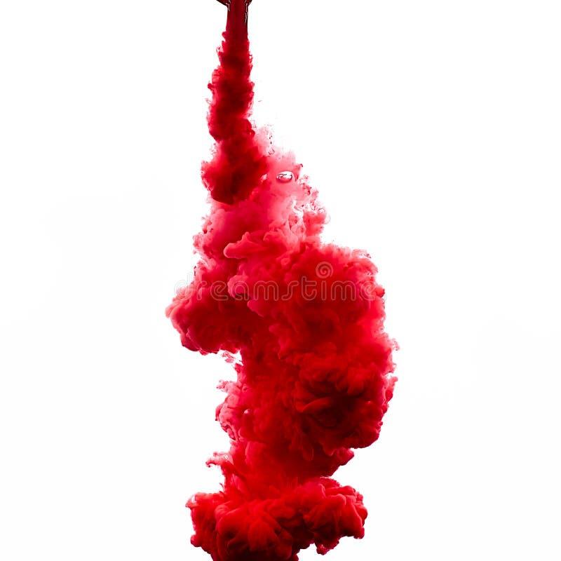 Rött akrylfärgpulver i vatten illustrationen för fractals för explosionen för abstrakt bakgrundsfärg texturerade den digitala royaltyfria foton