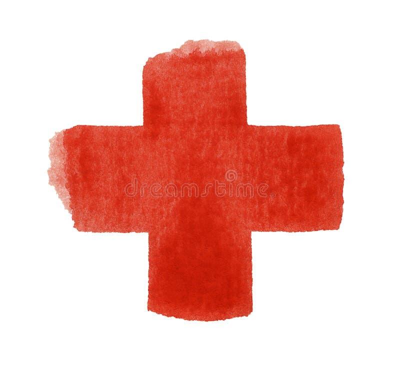 Rött akvarellkors royaltyfri bild