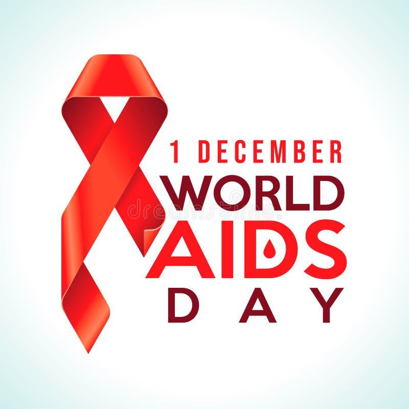 Rött band för medvetenhet - symbol för solidariteten av folk som bor med HIV December för världsHJÄLPMEDELdag 1 emblem stock illustrationer