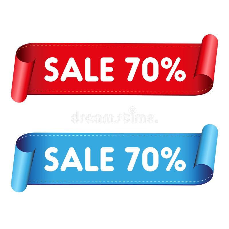 Rött band för sjuttio procent försäljning stock illustrationer