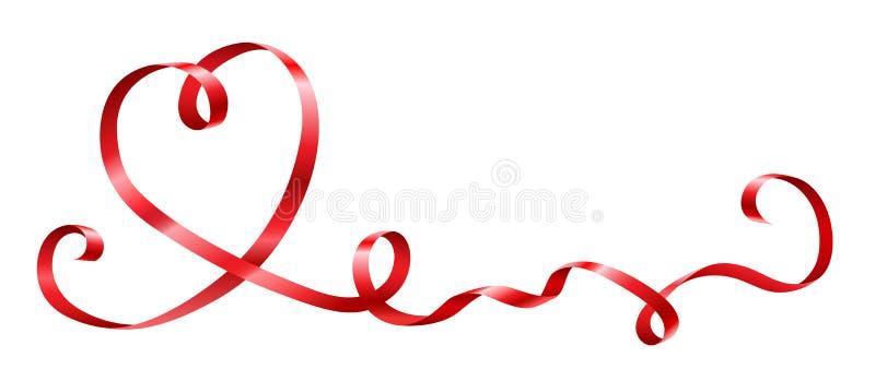 Rött band i hjärtaform för beröm stock illustrationer