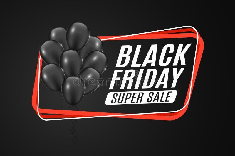 Rött baner för försäljningen av svarta fredag Grupp av svarta realistiska skinande ballonger Röd ram på en mörk bakgrund Specialt stock illustrationer