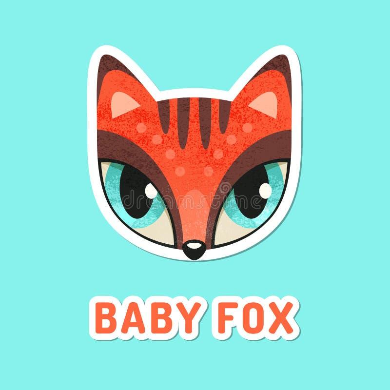 Rött behandla som ett barn räven med extremt stora ögon vektor illustrationer