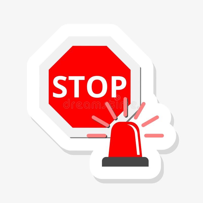 Rött blinkande nöd- ljus och STOPPvägmärkesymbol i tecknad filmstil på en vit bakgrund royaltyfri illustrationer