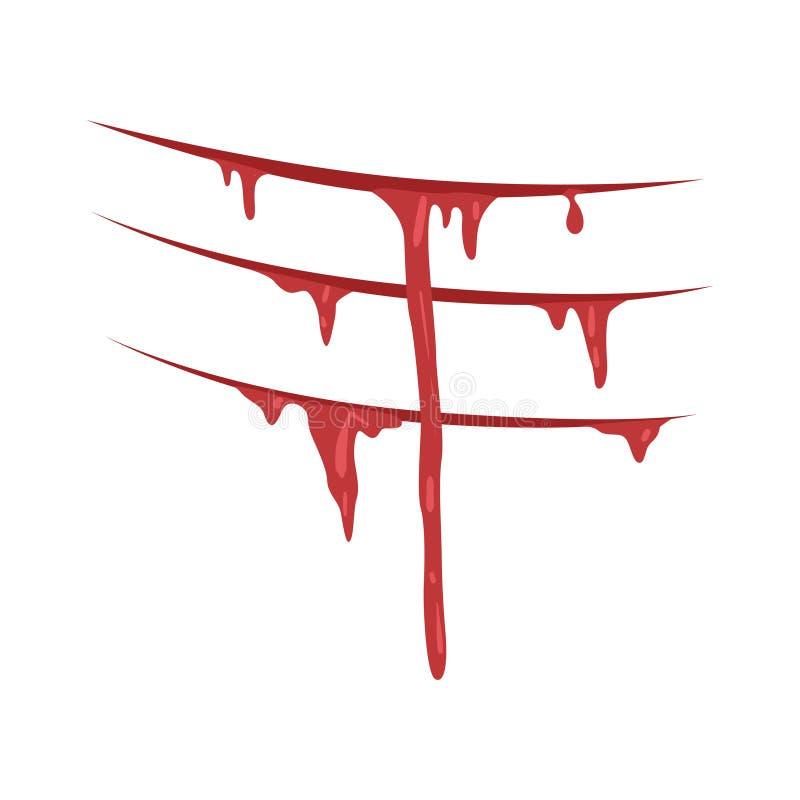Rött bloda ner jordluckrare med strimmavektorillustrationen på en vit bakgrund stock illustrationer