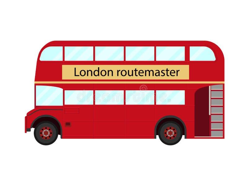 Rött busssymbol för dubbel däckare av London - vektorillustration stock illustrationer