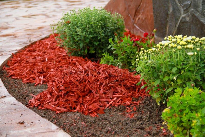 Rött dekorativt skäll för komposttäckning fotografering för bildbyråer