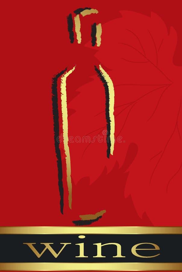 Rött etikettvin stock illustrationer